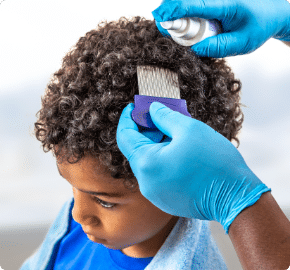 Lice Lifters Of Mercer County Child In Lice Salon Chair Getting Comb Out