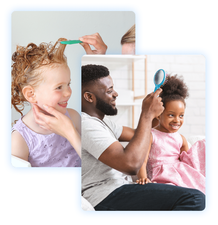 Lice Lifters Of Mercer County Head Lice Removal - Parents Combing Childrens Hair